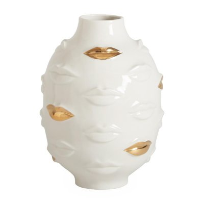 JONATHAN ADLER - GILDED MUSE GALA ROUND VASE - WHITE AND GOLD